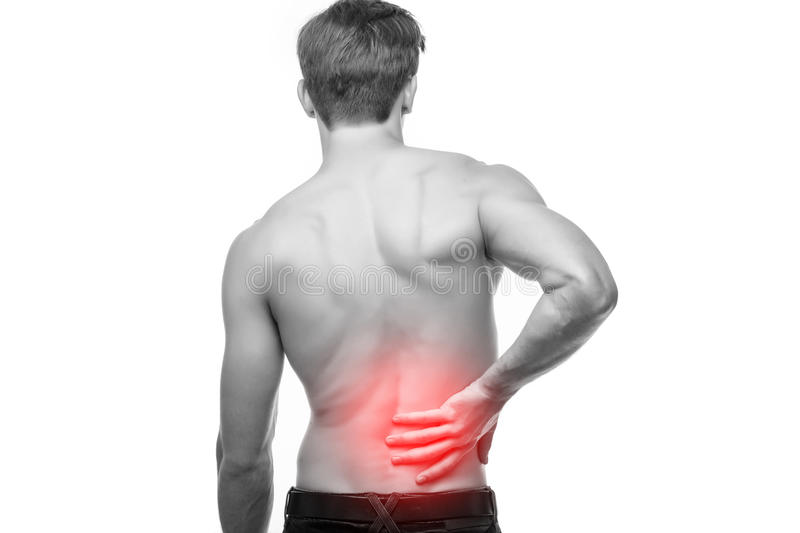 Close up of young man body rubbing his painful back. Pain relief, chiropractic concept. Close up of man rubbing his painful back. Pain relief, chiropractic stock photos