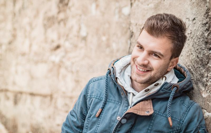 Close-up of a Young man smiling. Laughing male person royalty free stock photography