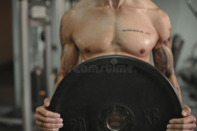 Close up of young muscular man lifting weights on background of gym. royalty free stock photo