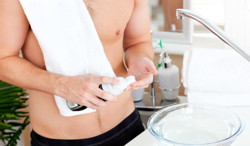 Close-up Of A Young Muscular Man Ready To Shave Royalty Free Stock Image