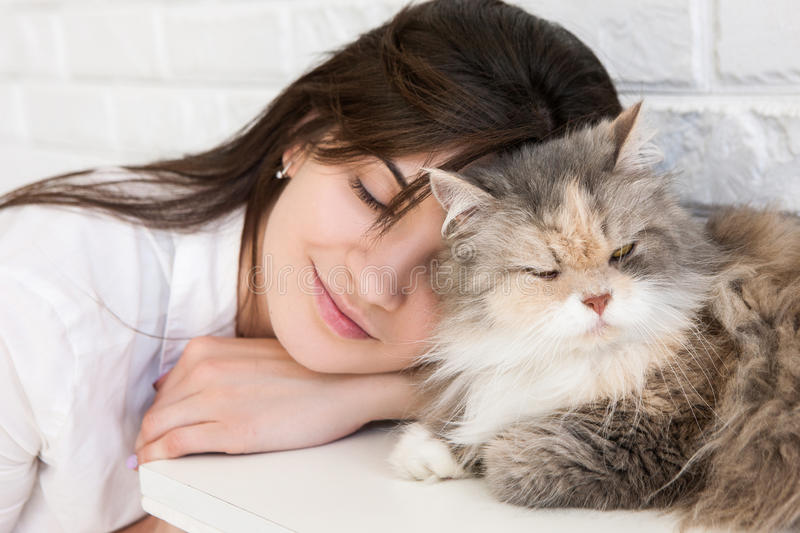 Close up of young woman and cat cuddling together. Close up of young brunette woman and her lovely cat cuddling together. Charming family pets and people`s love stock photography