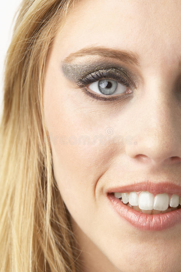 Close Up Of Young Woman Wearing Make Up stock photography