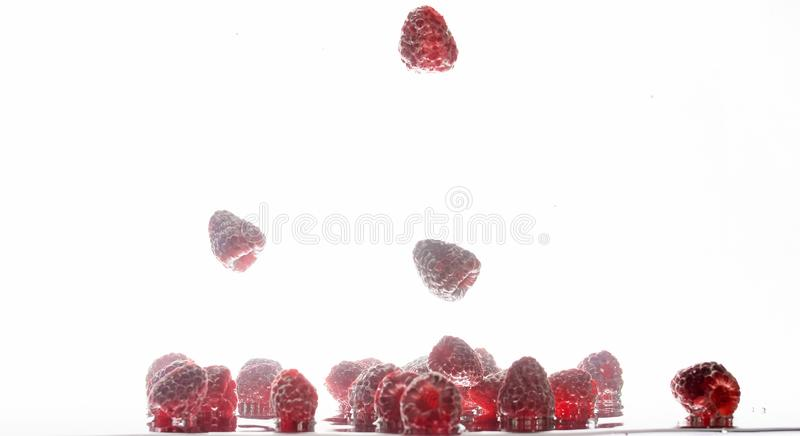 Close-upbeeld van veel verse rijpe smakelijke rode frambozen die met luchtbellen in schoon water tegen ge?soleerd flaoting royalty-vrije stock foto