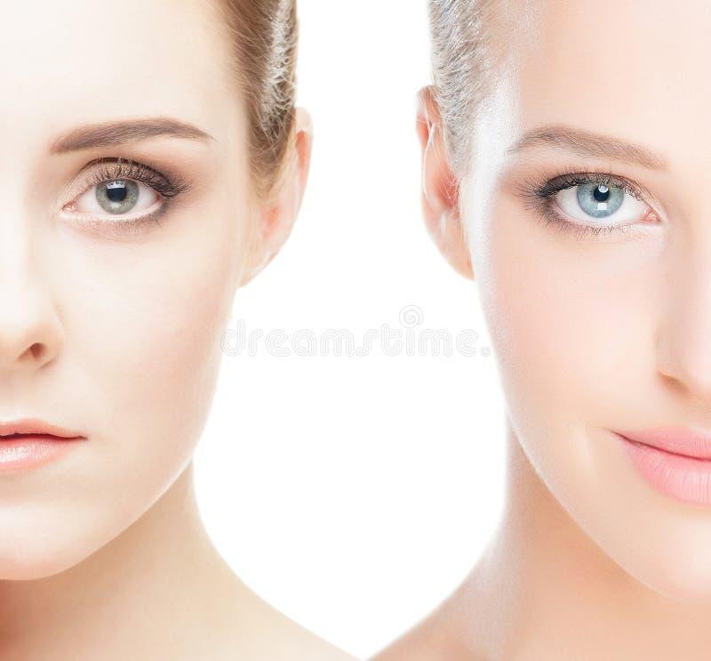 Close-upcollage van twee vrouwelijke portretten stock afbeeldingen
