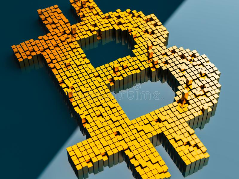 Close-upconcept kleine metaalkubussen in een willekeurige lay-out die opbouwen om het bitcoinsymbool op een blauwe achtergrond te stock illustratie