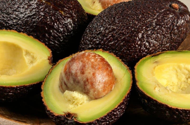 Close-upfoto - rijpe bruine gehalveerde avocado's hass bilse verscheidenheid, detail op fruitzaad royalty-vrije stock foto's