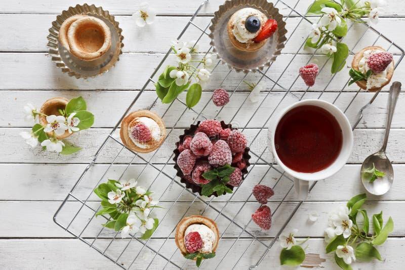 Close-upfoto van eigengemaakte cakes met mascarponekaas, kaneel, aardbeien, bosbessen en mooie wilde floweri van de appelboom stock fotografie