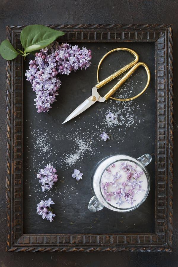 Close-upfoto van mooie verse lilac bloemen in suiker en uitstekende schaar in kader op zwarte lijstachtergrond royalty-vrije stock foto's