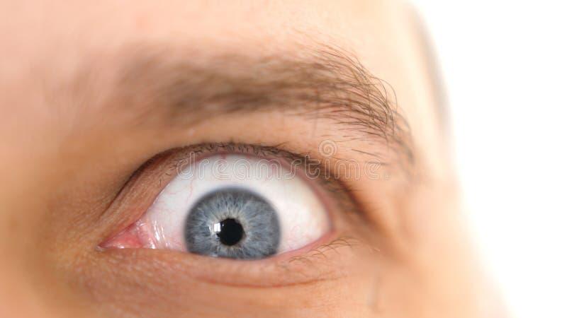 Close-upgezicht van een jonge emotionele geschokte mens met blauw oog stock foto