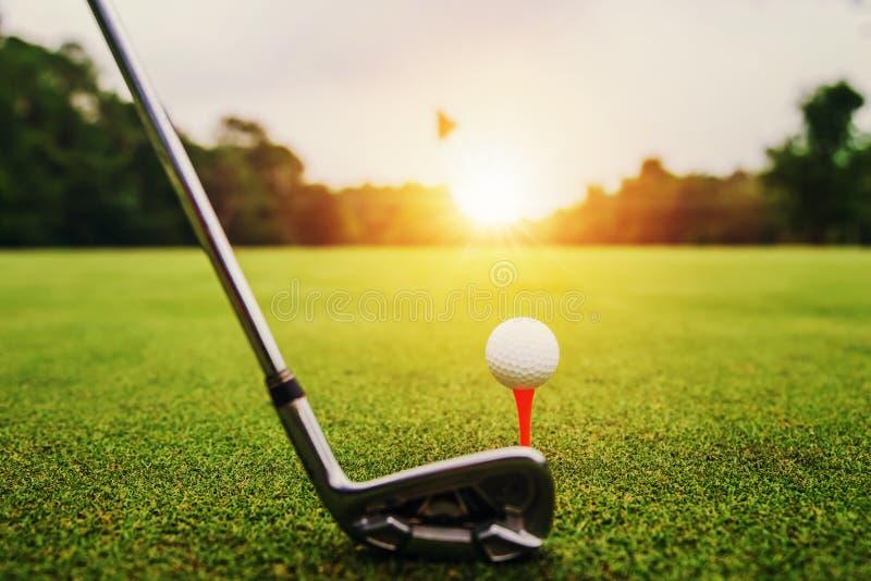 close-upgolfclub en golfbal op groen gras met zonsondergang stock afbeelding