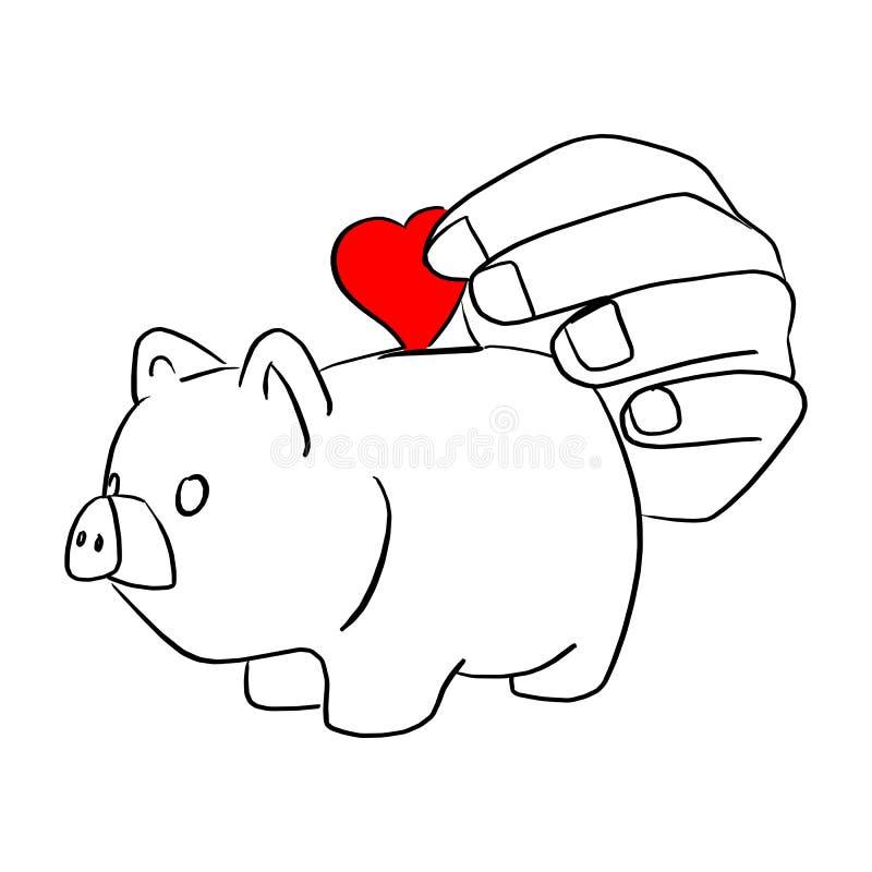 Close-uphand die rood hart in van de de illustratieschets van het spaarvarken vectordie de krabbelhand zetten met zwarte geïsolee stock illustratie