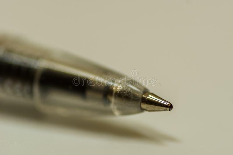 Close-upmening van een pen stock foto