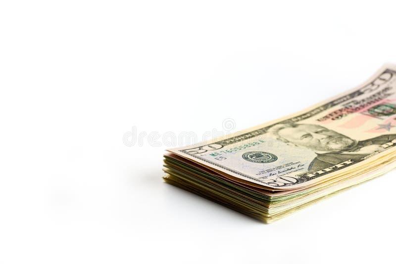 Close-upmening van een stapel van de V.S. vijftig die dollarsrekeningen - op witte achtergrond worden geïsoleerd royalty-vrije stock foto's