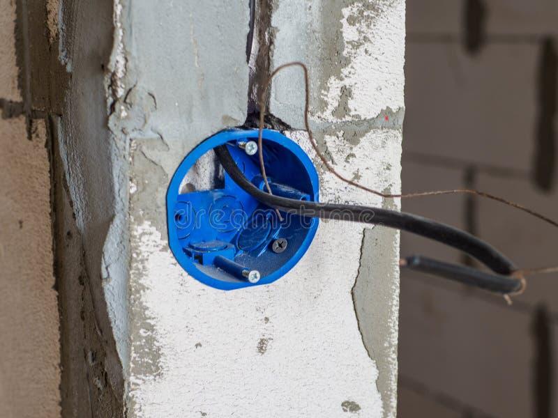 Close-upmening van het gat van de elektrische installatiecontactdoos royalty-vrije stock foto