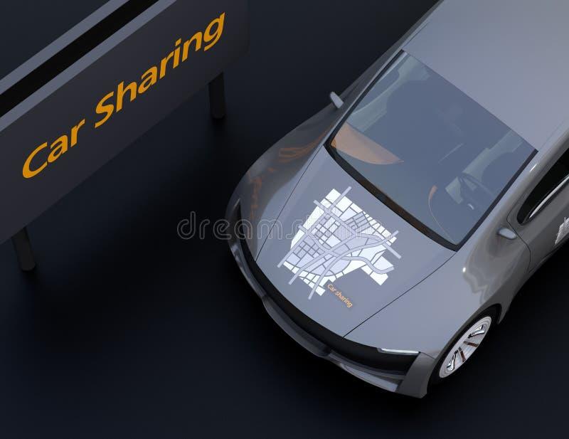 Close-upmening van metaal grijze elektrische auto met auto die grafisch patroon op kap delen stock illustratie