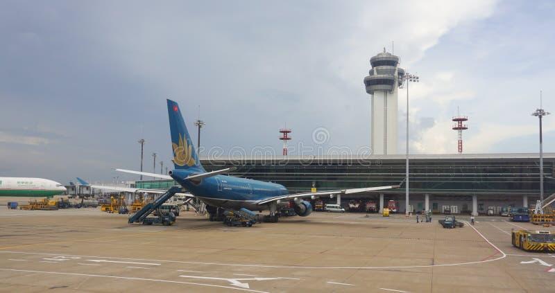 Close-upmening van Tan Son Nhat-luchthaven stock fotografie