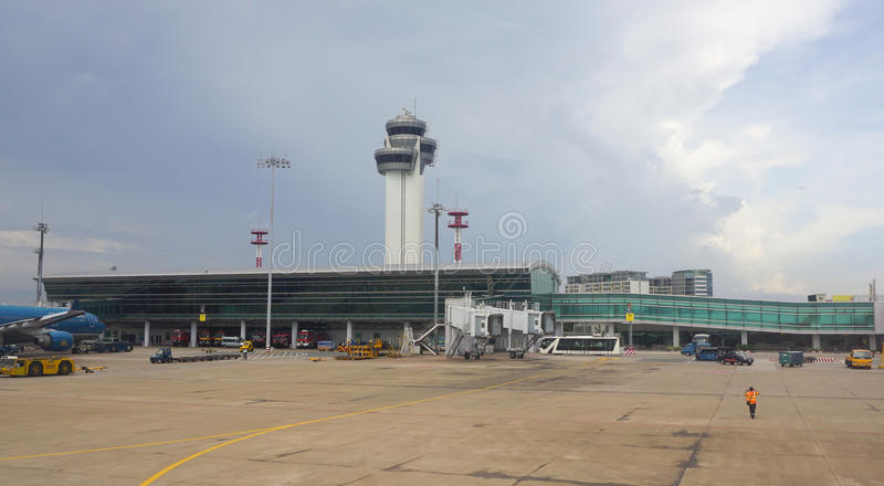Close-upmening van Tan Son Nhat-luchthaven stock foto