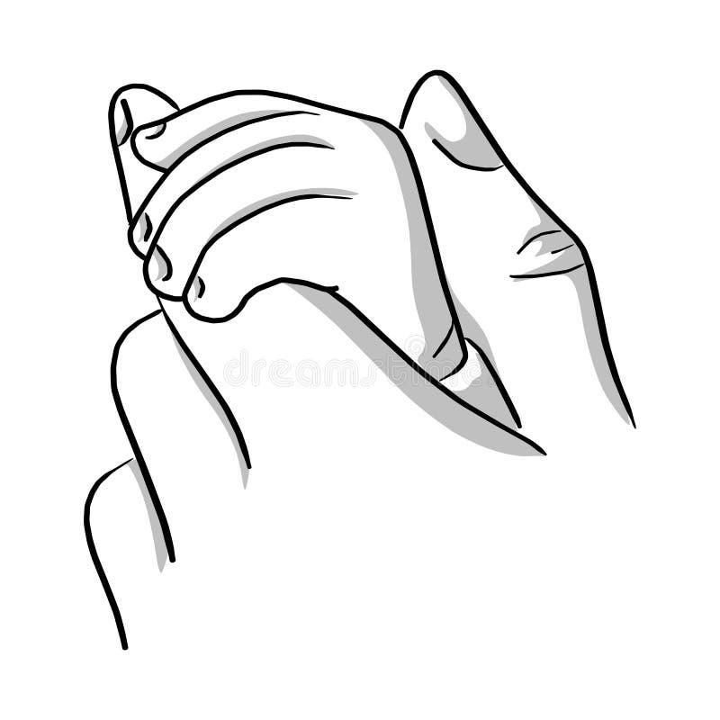 Close-upmoeder die een hand van baby vectorillustratie sketc houden vector illustratie