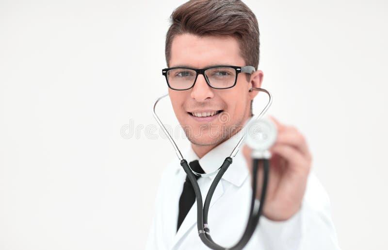 close upp en säker terapeut med en stetoskop arkivfoto