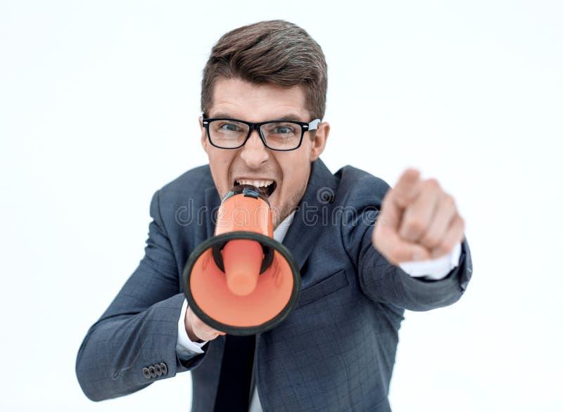 close upp ilsken affärsman med en megafon arkivbild