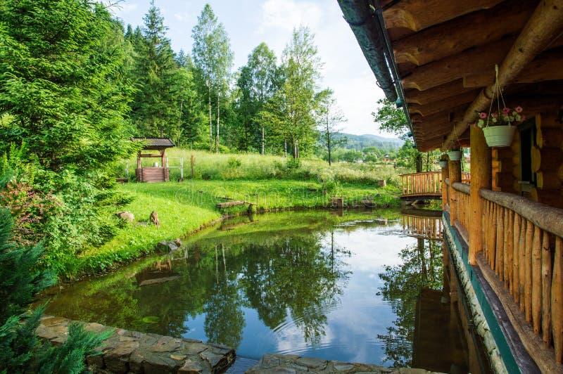 close upp Liten pittoresk sjö nära trähuset Omgivet av frodig grön vegetation och de Carpathian bergen royaltyfri bild