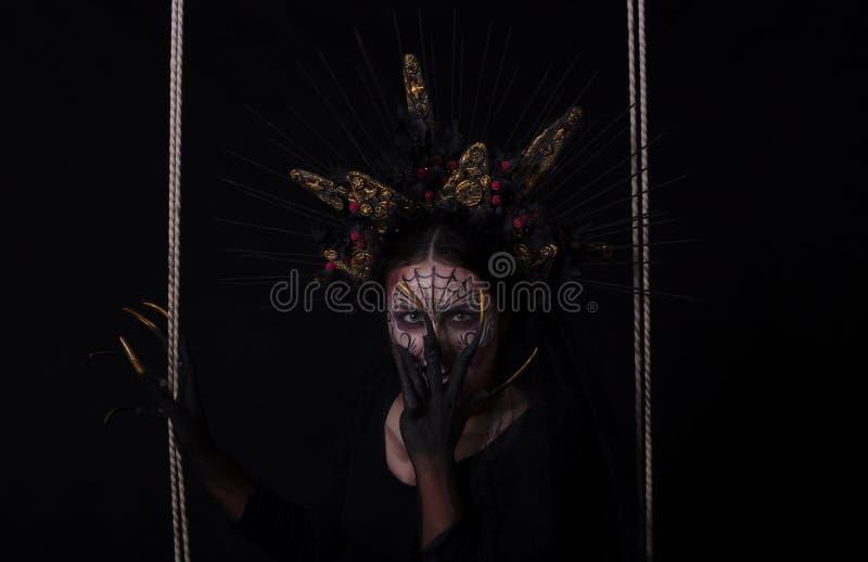 Close-upportret van Calavera Catrina Jonge vrouw met suikersku royalty-vrije stock foto's
