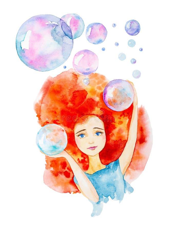 Close-upportret van een mooi meisje in een blauwe kleding met rood haar en blauwe ogen Omringd door grote zeepbels Vangt hen met vector illustratie