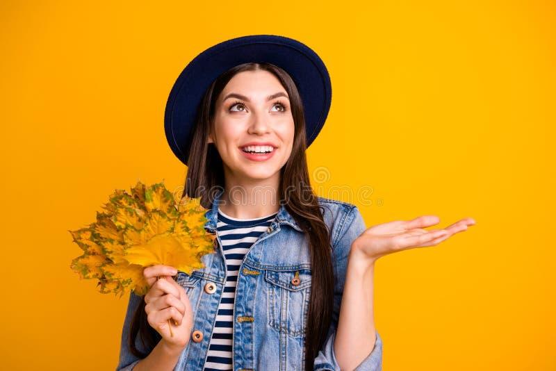 Close-upportret van haar zij mooie aantrekkelijke mooie charmante leuke vrolijke recht-haired dameholding in handen stock afbeelding
