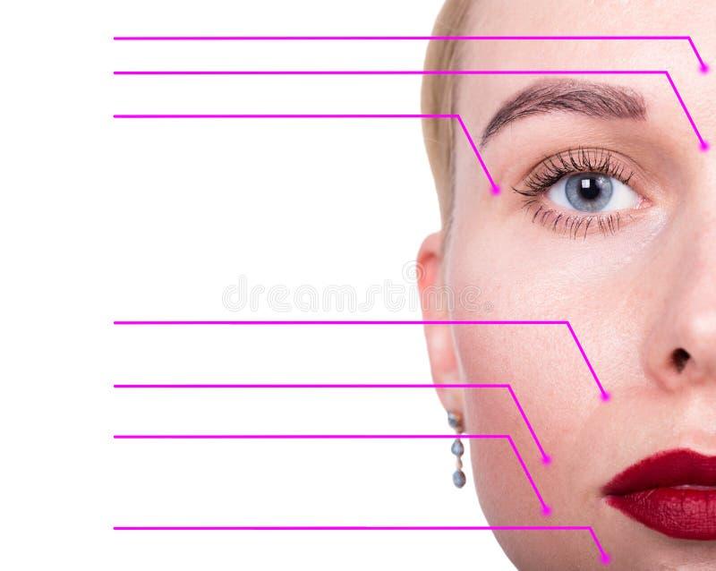 Close-upportret van jonge, verse en natuurlijke vrouw met de gestippelde pijlen op haar gezicht die op een gezichtsgebieden richt royalty-vrije stock afbeeldingen