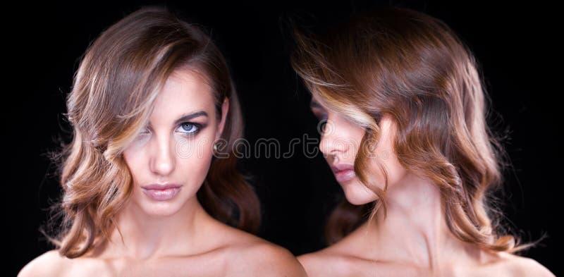 Close-upportret van mooi model met lang blond haar royalty-vrije stock afbeelding