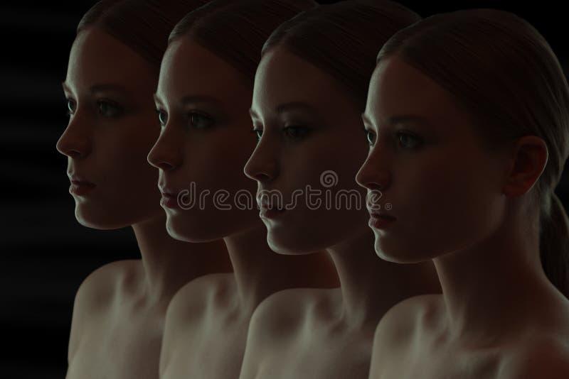 Close-upportret van vele vrouwen` s gezichten het Donkere groepsportret royalty-vrije stock fotografie