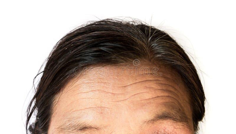 Close-uprimpels op voorhoofd oude vrouw met witte achtergrond stock afbeelding