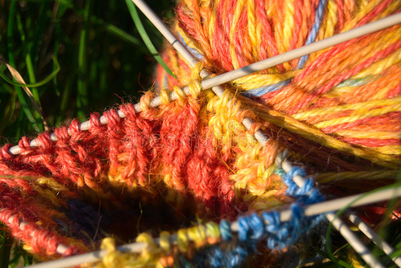 Close-ups of needle and wool stock photos
