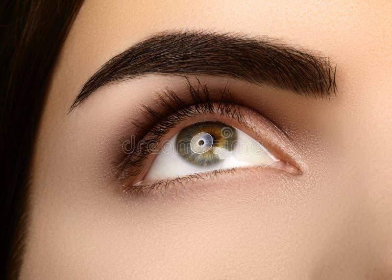 Close-upschoonheid van Vrouwen` s oog Sexy rokerige Ogenmake-up met bruine Oogschaduw Perfecte sterke Vorm van Wenkbrauwen royalty-vrije stock foto's