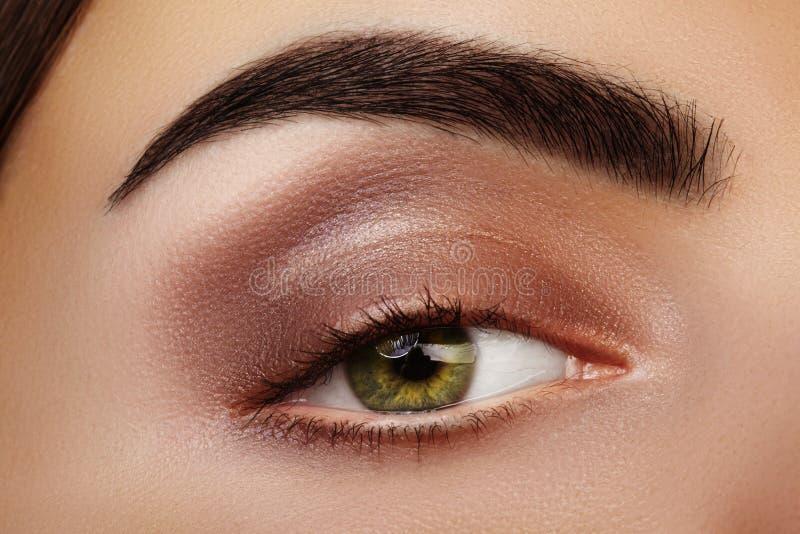Close-upschoonheid van Vrouwen` s oog Sexy rokerige Ogenmake-up met bruine Oogschaduw Perfecte sterke Vorm van Wenkbrauwen royalty-vrije stock foto