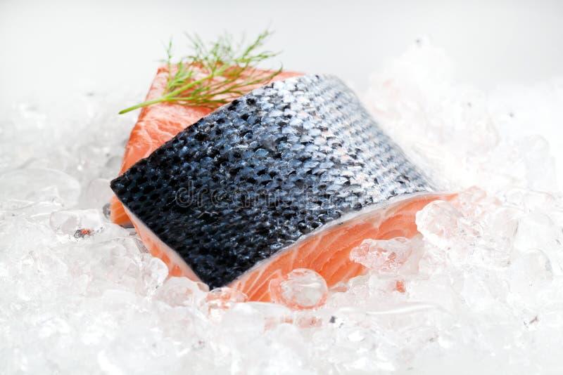 close-upschot van gesneden zalmfilet op verpletterd ijs royalty-vrije stock afbeelding