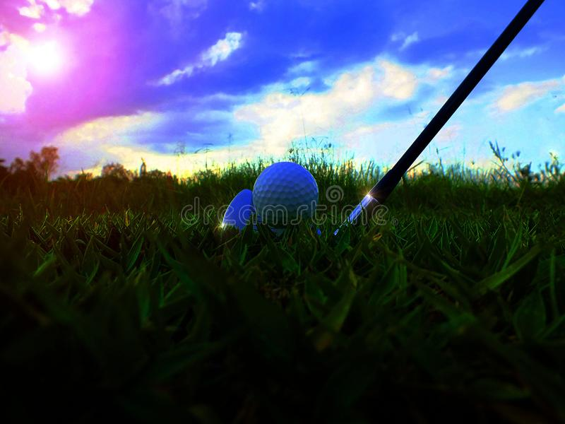 Close-upschoten van golfbalstaking stock afbeeldingen