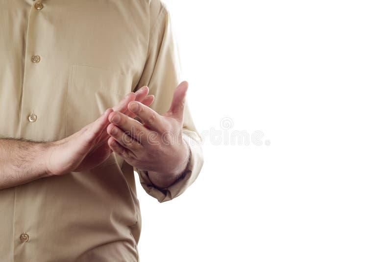 Close-upzakenman die handen op witte achtergrond slaan stock afbeeldingen