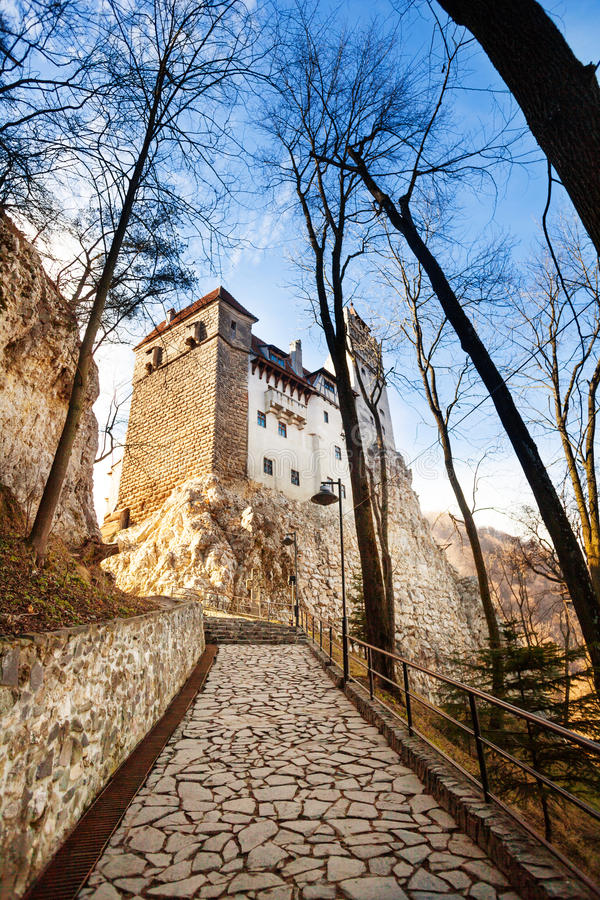 Close view of Bran Castle with stoned path stock photos