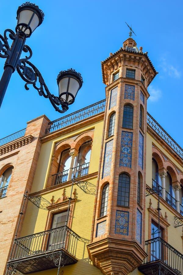 Building in Avenida de la Constitucion, Sevilla. Close view and bright colors of an iconic building in Avenida de la Constitucion Andalucia, Spain royalty free stock photos