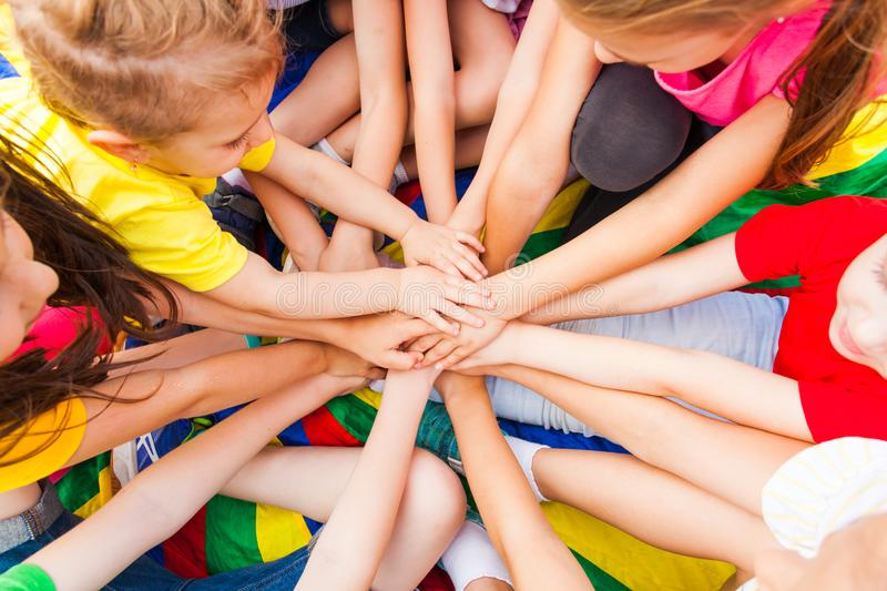 Close view of children`s hand together royalty free stock image