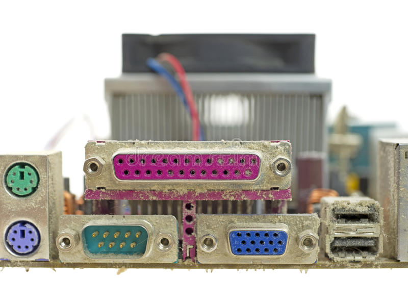 Download Close View Dusty Back Panel Ports For Motherboard Stock Images - Image: 23132374