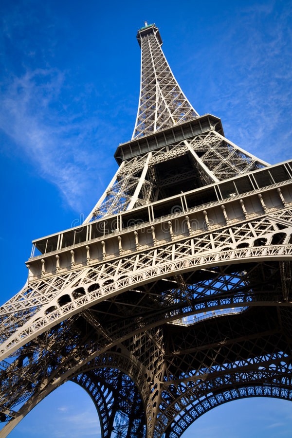 Close view on Eiffel Tower stock photography
