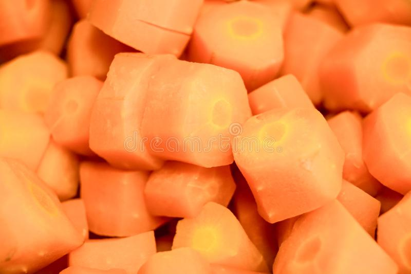 Close view of fresh organic carrots sliced. royalty free stock image