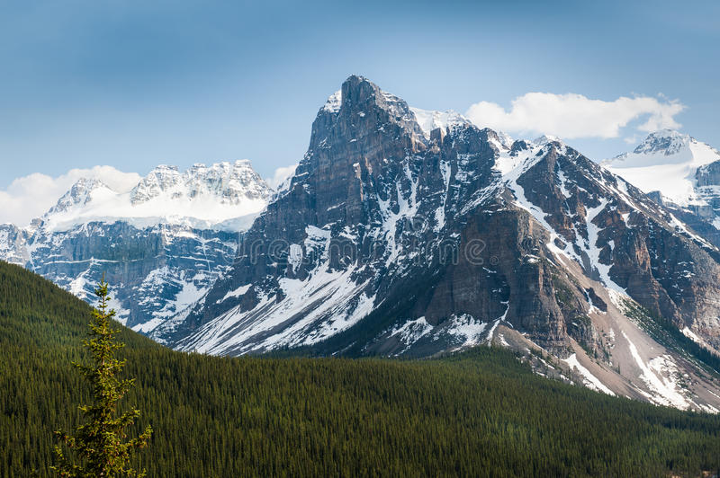 Close view of glaciers surrounding Moraine Lake royalty free stock photography