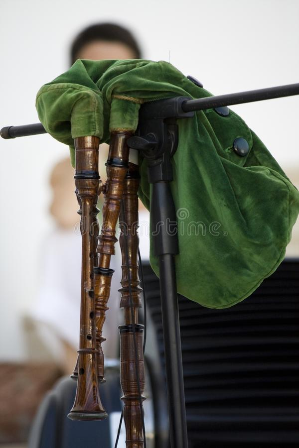Green Bagpipe. Close view of a green bagpipe musical instrument stock photo