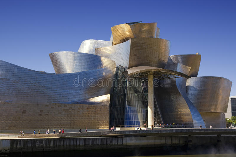 Close view of the Guggenheim Bilbao museum stock photography