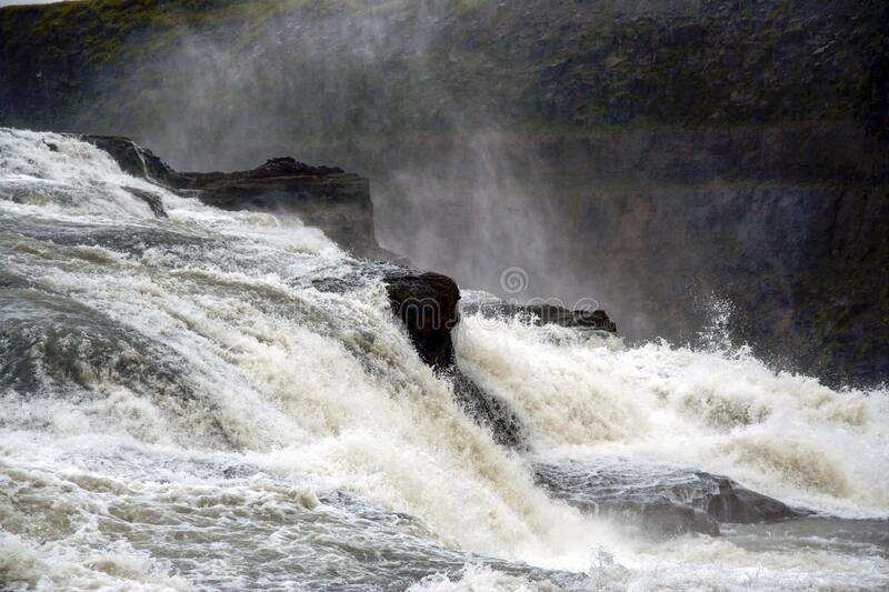 Close view of Gullfoss waterfall at summer, southwest Iceland royalty free stock image