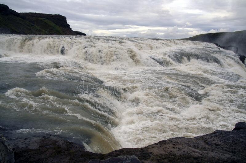 Close view of Gullfoss waterfall at summer, southwest Iceland stock photo