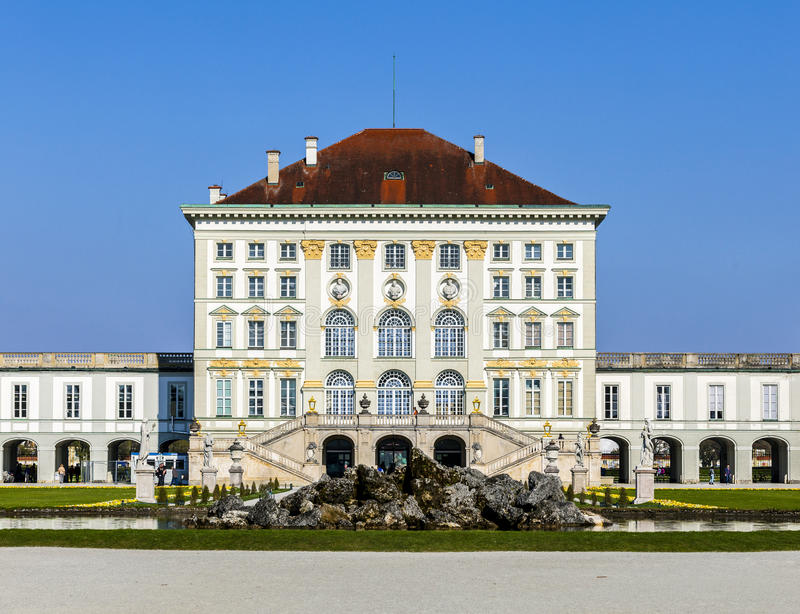 Close view of the historic castle Nymphenburg of Munich royalty free stock images